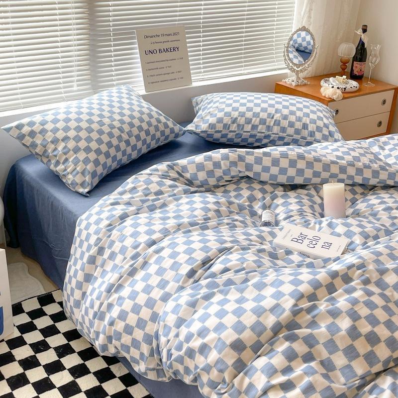 Bedding Sets Knited Cotton Four Piece Set Of Vintage Plaid Sheet Quilt Cover Pillowcase 4pcs Japanese Style Minimalist