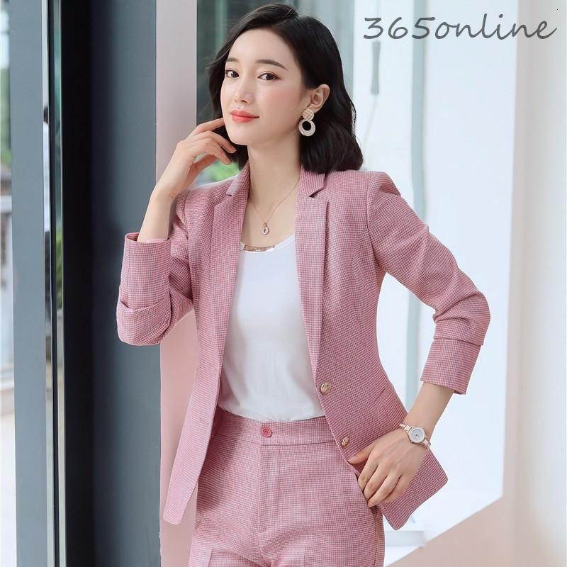 Novelty Pink Plaid Formal OL Styles Long Sleeve Blazers Jackets Coat For Women Business Work Wear Autumn Winter Blaser Outwear Women's Suits