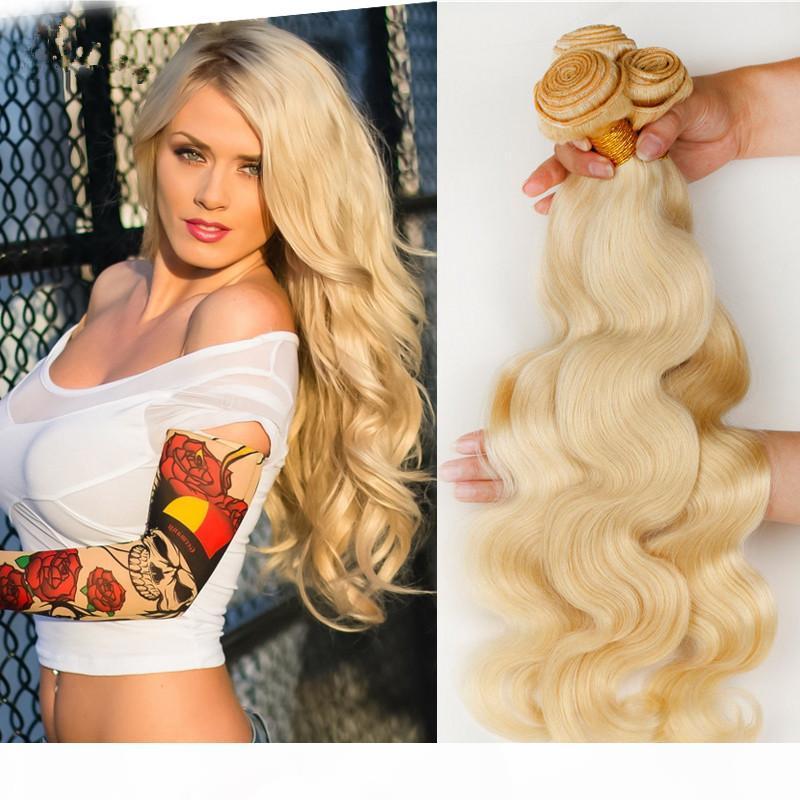 # 613 blonde russische menschliche haare fepts 3 stücke body welle 9a russisch blonde blonde menschliche haare webart bündel billig blonde menschliche haare erweiterungen