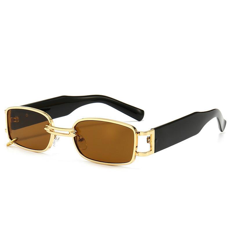 Retro Señoras Gafas de sol Punk Pequeño rectángulo Gafas de sol Popular Moda Diseñador de marca Hombre de alta gama Gafas de sol UV400