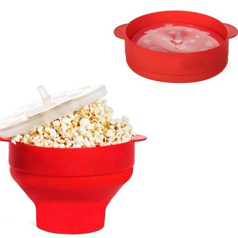 2020 New Popcorn Microondas Silicone Dobrável Vermelho Cozinha Easy Tools Easy Ferramentas DIY Popcorn Bucket Tigela Maker com Tampa 1401 V2