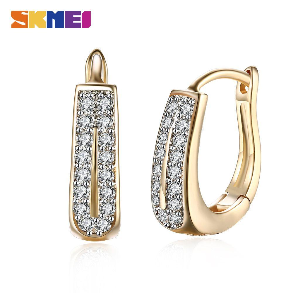 SKMEI LKN016 Stud Fashion Champagne Gold Color Earrings Double Row Zircon Ladies Romantic Shining Girl Hoop Jewelry