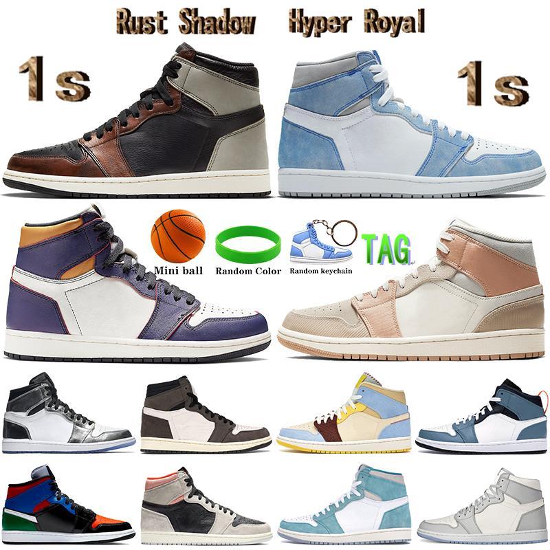 Top 1 1S Hyper Royal Mens Baloncesto Zapatos de baloncesto Sombra Cactus Wolf Grey Sail Mid Milán Pale Ivory Men Mujer zapatillas de deporte Entrenadores