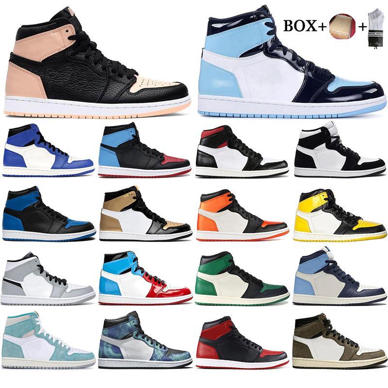 مع مربع 2021 رجل 1 عالية og أحذية كرة السلة 1S جامعة المحظورة الأزرق الحرباء أعلى 3 حذاء رياضة البرتقال UNC EUR36-46