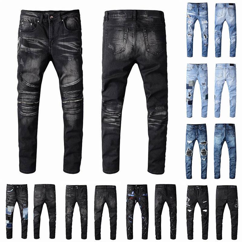 2021 رجل مصمم جينز بالأسى ممزق السائق يتأهل دراجة نارية السائق الدينيم للرجال s أزياء مان السراويل السوداء 22ss صب أوم