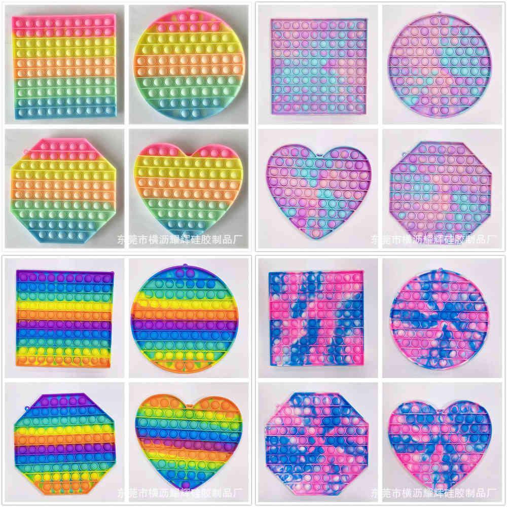 20 cm quadrato cerchio cuore ottagono ottagono fidget giocattoli poppt bolla bolla popper gigante grande macaron arcobaleno bolle popper bordo anti ansia ansia bambini dito puzzle anello portachiavi G62ZF30