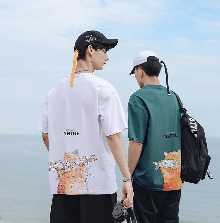 여름 면화 반팔 둥근 목과 고양이 프린트 티셔츠 남성 기지