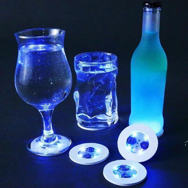 LED Bottle Stickers Coasters Light Sticker Flashing led lights For Holiday Party Bar Home Party BWD8804