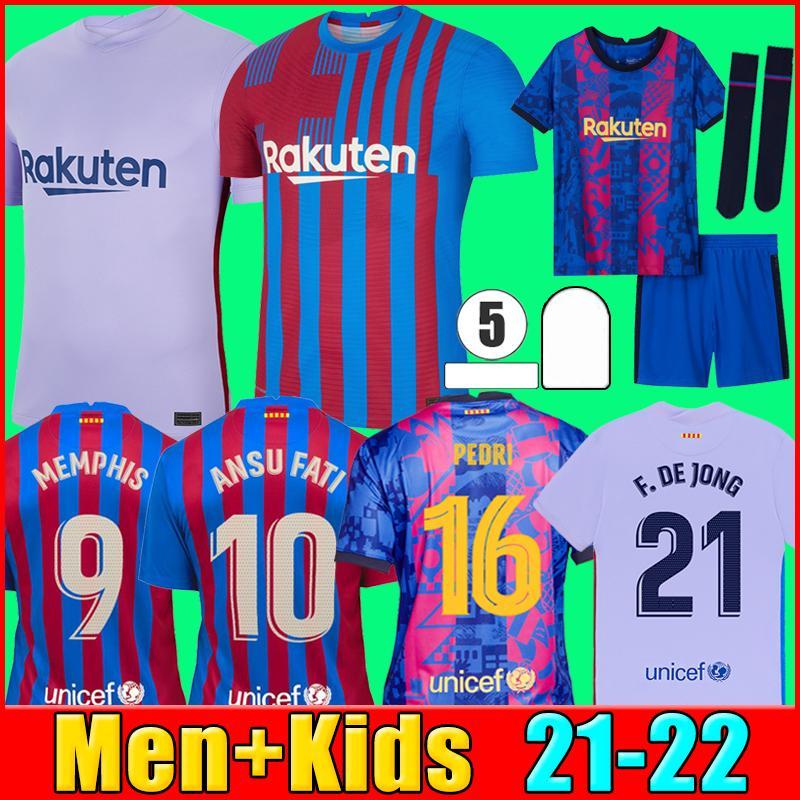 21 22 FC Barcelona futbol forması MEMPHIS BARCA camiseta de futbol KUN AGUERO ANSU FATI 2021 2022 MESSI GRIEZMANN F.DE JONG DEST COUNTINHO futbol forması seti erkek + çocuk setleri