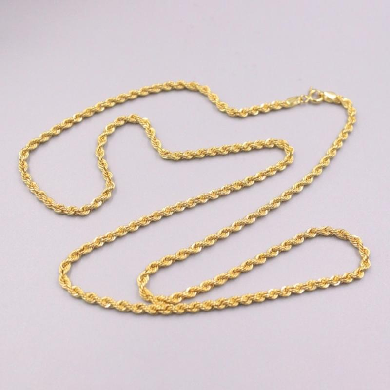 Pure 18K Yellow Gold Necklace Twisted Rope Chain 4.8g / 22inch For Women Gift Chains