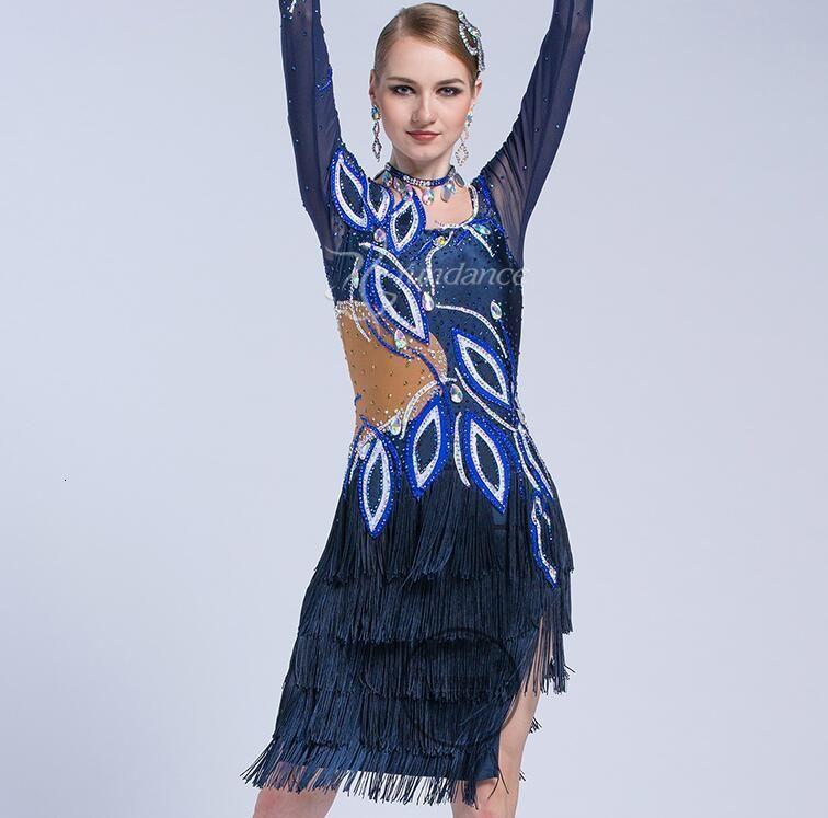 Rekabet Latin Elbise Kızlar için Dans Latin Elbise Kadın Balo Salonu Kadın Yarışması Dans Mavi Renk