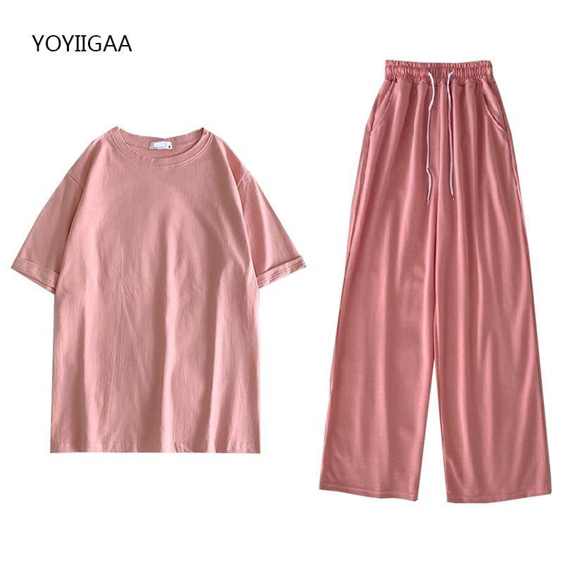 Verano 2 piezas conjunto mujeres camiseta pantalones ropa deportiva trajes de ocio trajes de ocio damas chándalsuits Color de caramelo sets mujeres