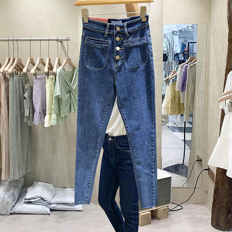 KOG771 bleu des design précoce Sent Double Pantalon Pantalon Poche Neuf Points et Pieds Taille La taille des femmes cultivent son
