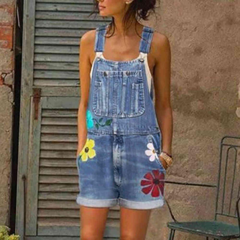 Tuta da donna Vestiti estivi Casual Shorts Floral Tuitsuitsuits Denim Pagliaccetti Dungaranti Jean Tuta Giovane ragazza signora nuovo