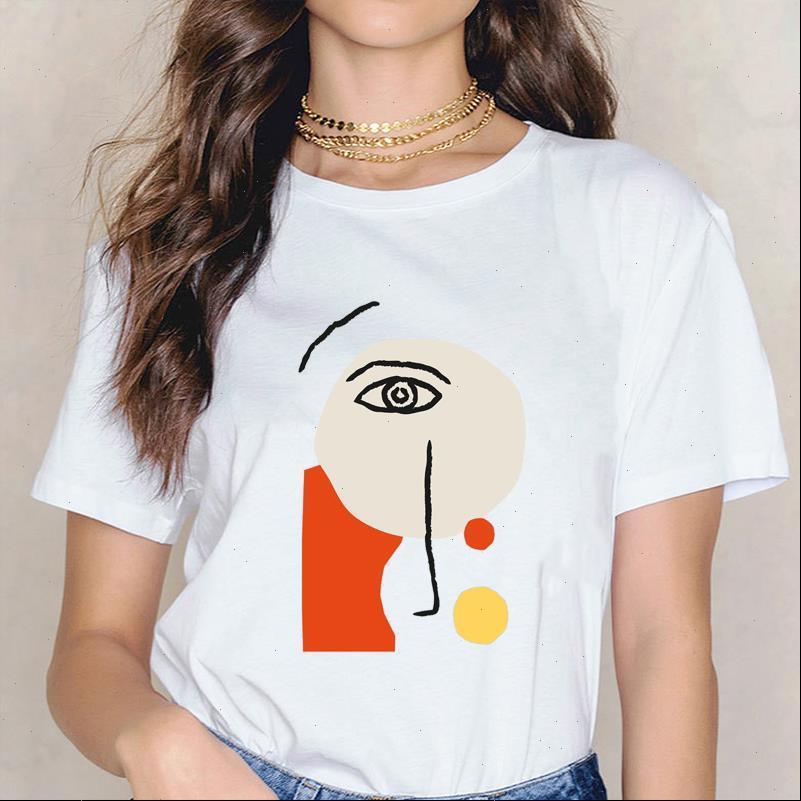 Gesicht Abstrakte einfache Sommerfrauen T-shirts Casual Nette Harajuku Kreative Linie Kunst T-Stück