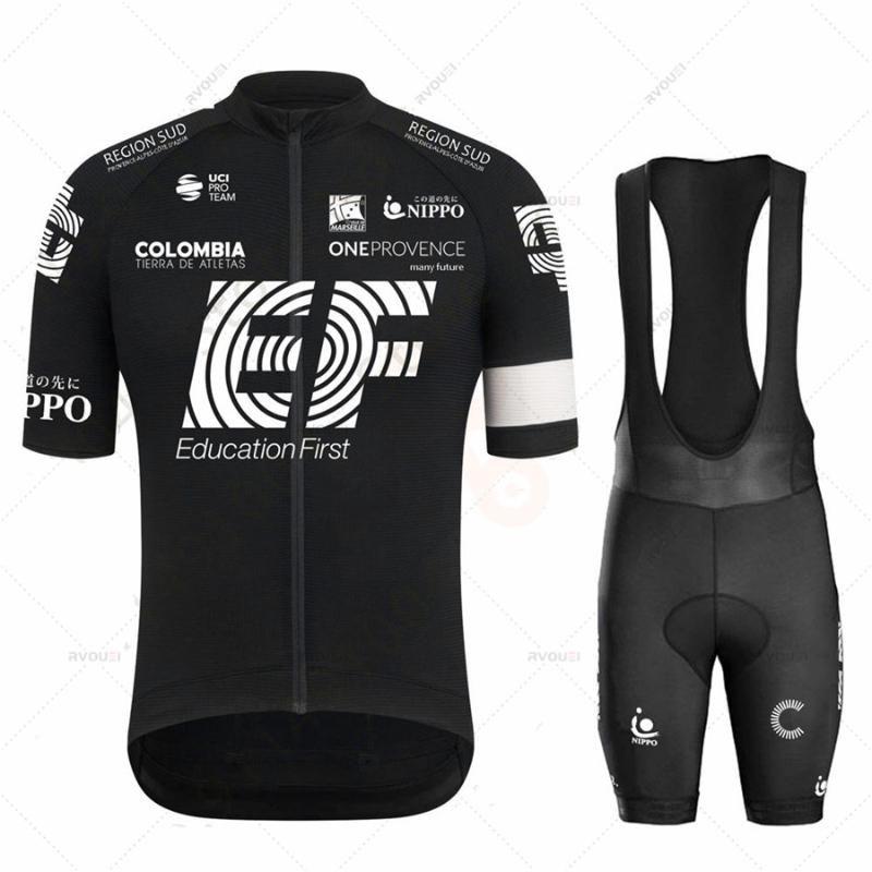 Yarış Setleri 2021 EF Takım Bisiklet Forması Set Siyah Erkek Giyim Yol Bisikleti Takım Elbise Bisiklet Önlüğü Şort Raphaful Giyim Maillot Ropa Tops