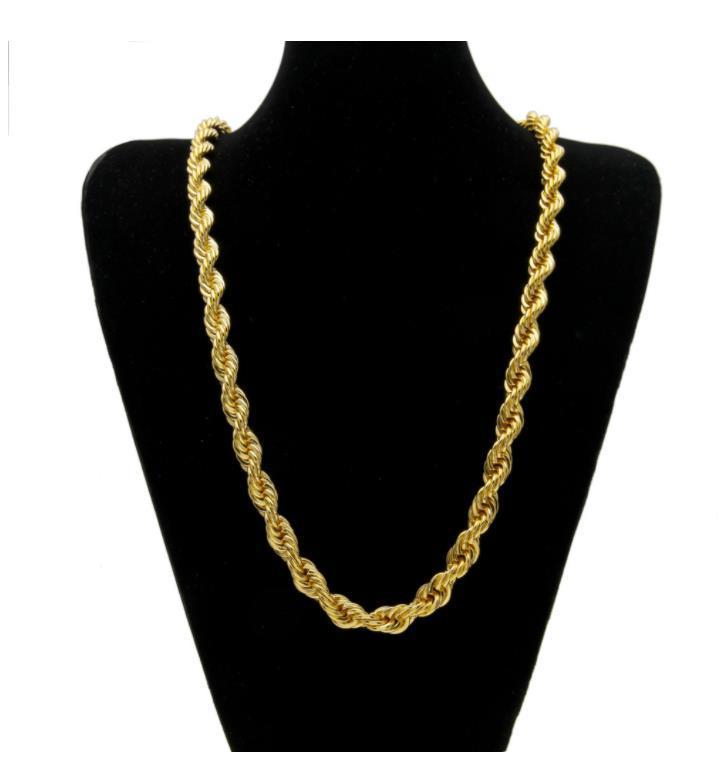 سلاسل القلائد المعلقات مجوهرات 10 ملليمتر سميكة 76 سنتيمتر طويل حبل سلسلة 24 كيلو الذهب مطلي الهيب هوب الملتوية قلادة الثقيلة للرجال إسقاط التسليم 202