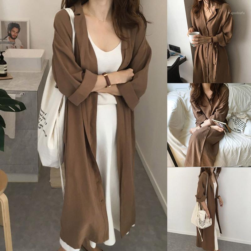 Women Streetwear Fashion Casual Blouse Shirt Dress Coat Loose Lapel Lady Long Sleeve Solid Color Outerwear New arrival Autumn d81