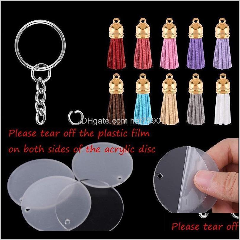 السلاسل الحلي الأزياء الديكوراتكرتر 120 قطع الاكريليك دائرة شفافة أقراص سلسلة المفاتيح فارغة ملونة الشرابة أقراط ل diy مشاريع الحرفية gif