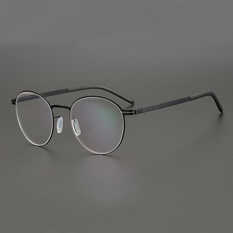 빈티지 라운드 스크류 - 덜 처방 안경 프레임 남성 여성 경량 광학 근시 안경 베를린 Eyewear 패션 성 선글라스 F