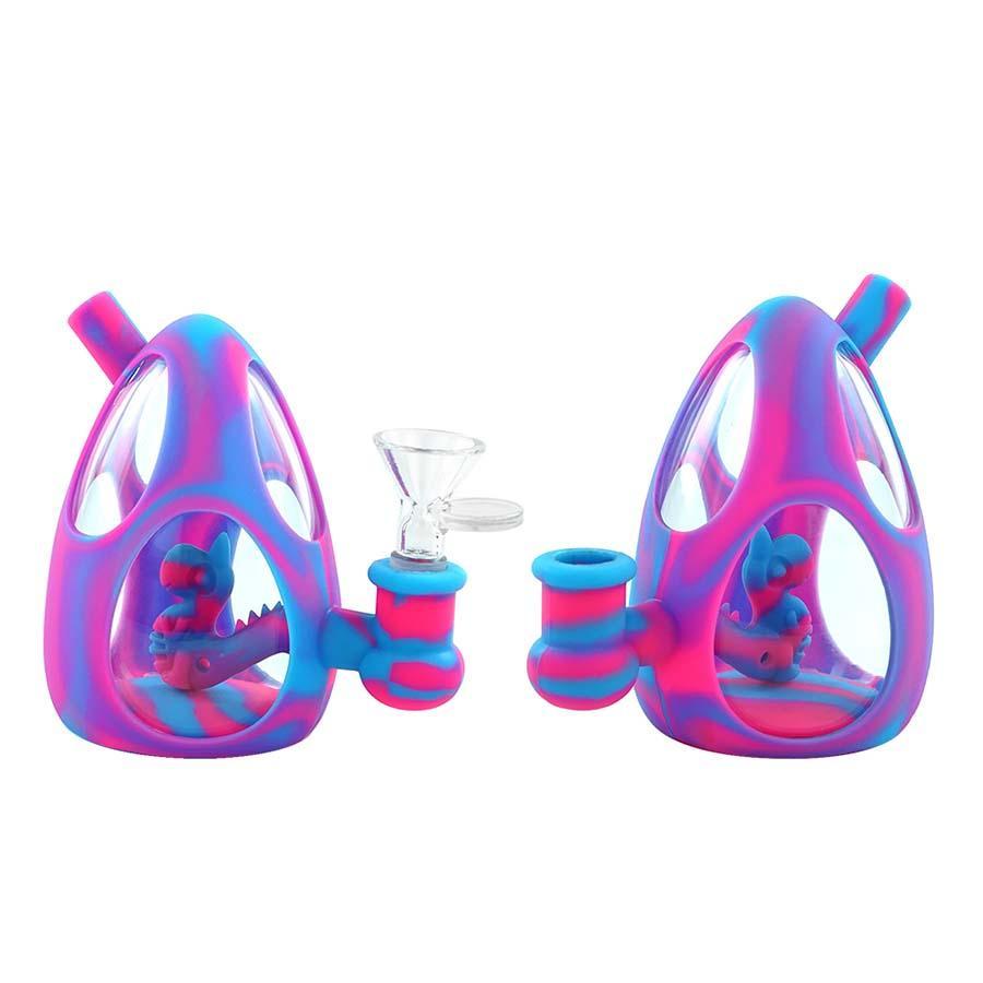 Glass Bong 4.4 pulgadas de agua Tubos de agua Calzado de aceite Hookahs Silicone Fumar mano Tubería Huevo Forma