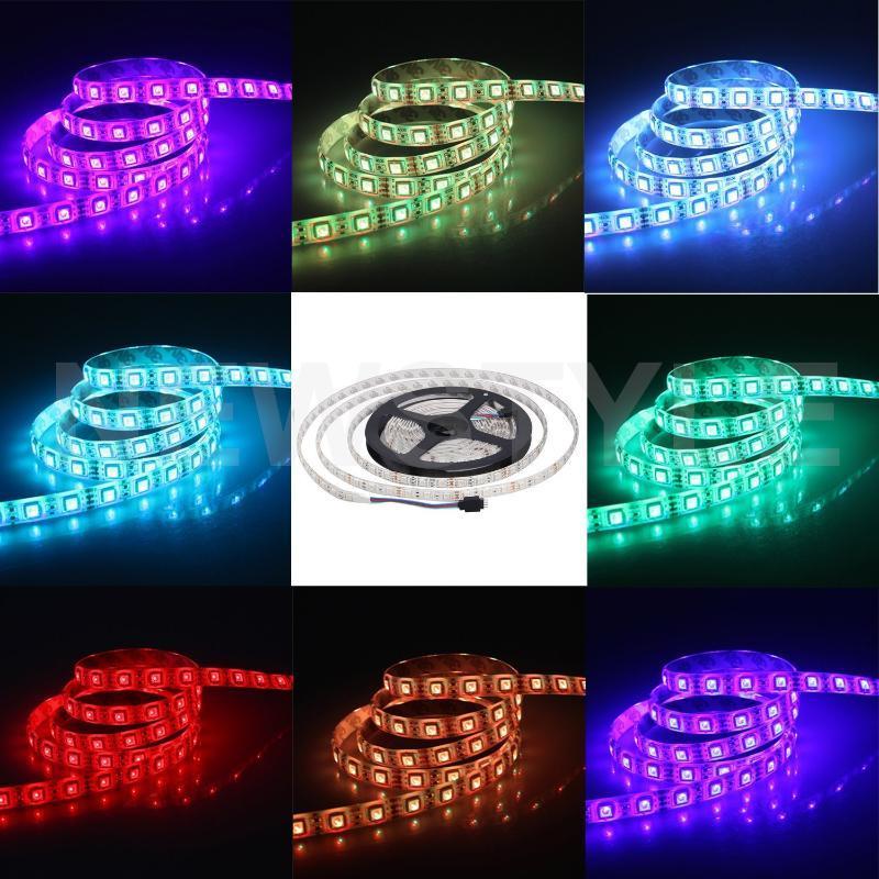 방수 LED 스트립 fiexible 빛 60led / m, 5m / lot dc12v, 흰색, 따뜻한 흰색, 빨강, 녹색, 파랑, 노란색, RGB, 스트립