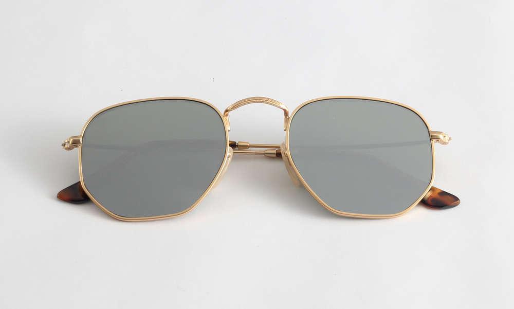 High Quality Hexagonal Sunglasses Real Glass Lens Men's and Women's Outdoor Beach Driving LP