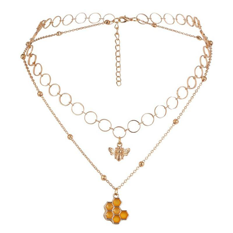 Chains 1 Pcs Multi Layer Necklaces Bee Layered Short Gold Honeycombs Pendant Necklace Beaded Chain For Women And Girls