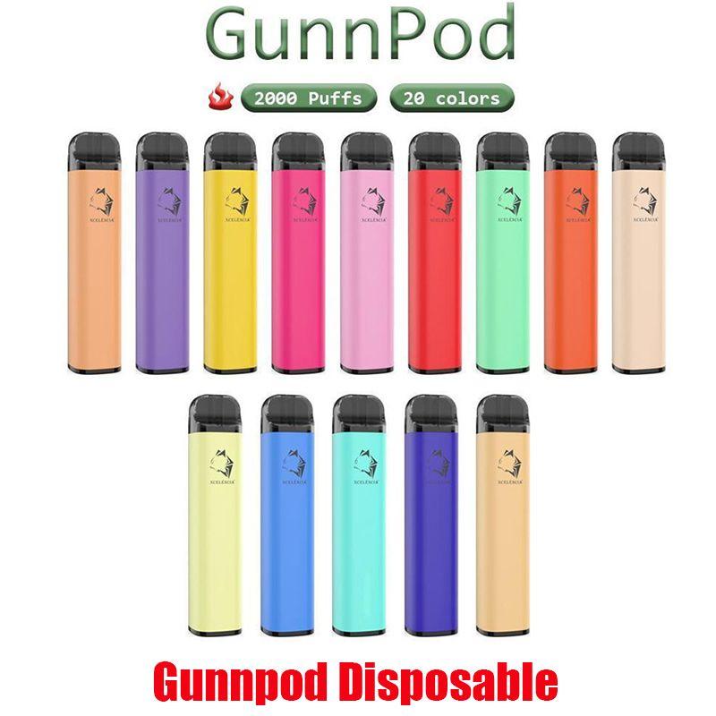 ORIGINAL GUNNPOD Desechable POD DISPOSITIVO Kit E-cigarettes 2000 Puffs 1250mAh Batería 8ml Cartucho precargado Vape Stick Pen vs XXL Bar más 20 colores 100% Auténtico