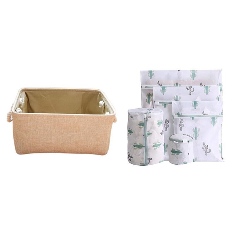 سلة تخزين المنسوجة لتخزين لعبة، الخوص مع مجموعة من 5 قطع من المنزلية المضادة للتشوه حقيبة تنظيف حقيبة الغسيل