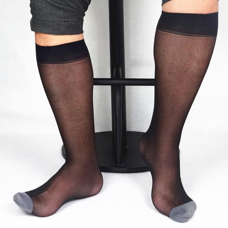 Pair Black Gold Blue Men Wide Striped Toe Sheer Dress Socks Silk High Thin Breathable Sexy Softy Blazer Accessory