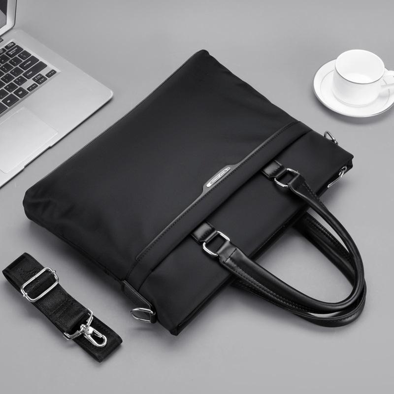 Evraklar Çok fonksiyonlu Erkekler Retro Siyah Evrak Çantası İş Kalite Naylon Çanta Erkek Omuz Messenger Çanta Büyük Laptop Çantaları1 F1RF