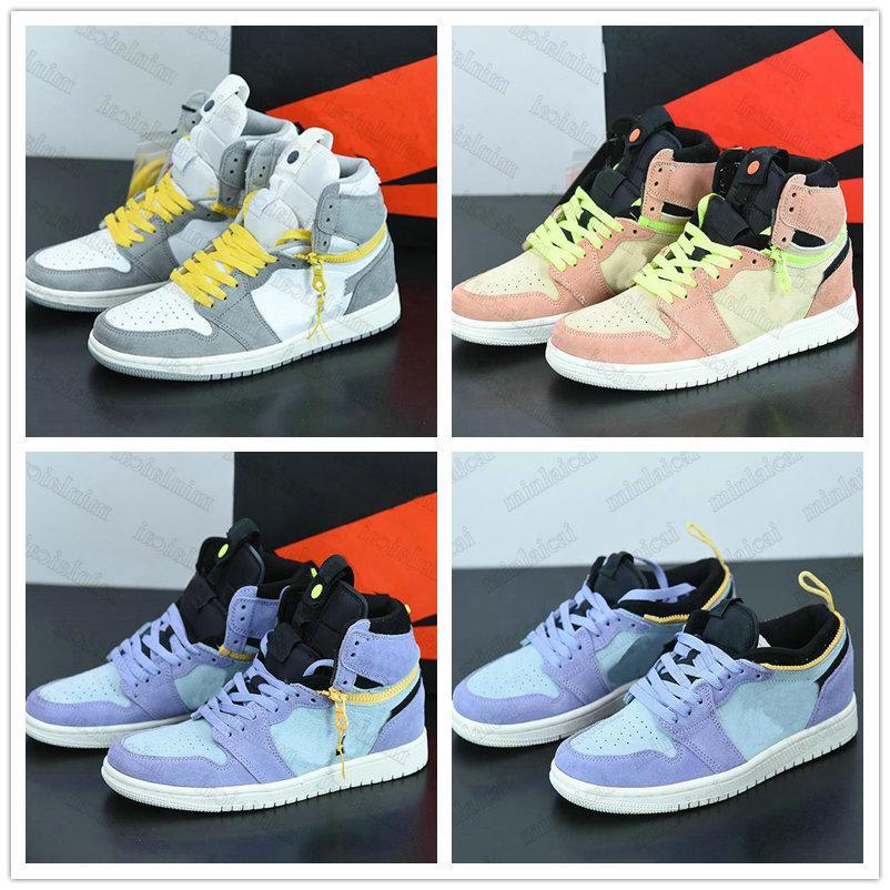 Nike Air Jordan 1 Switch Light Smoke Gray Luxurys Basketballs Schuhe Leder 1s High og Lila Pulse Mens Womens Runner Trainer Designer Sport Turnschuhe