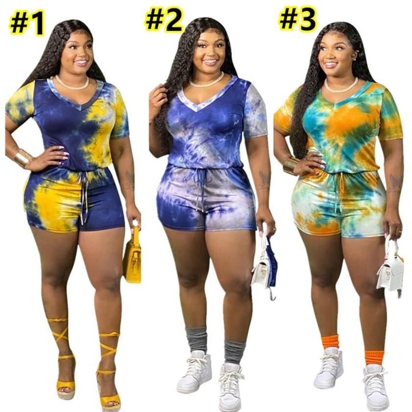 Plus size 3XL 4XL 5XL Women Tie-dyed Jumpsuits Summer Clothes Ladies Rompers One piece Pants Fashion Tracksuits Short Sleeve Top Leisure wear Loungewear DHL 4784