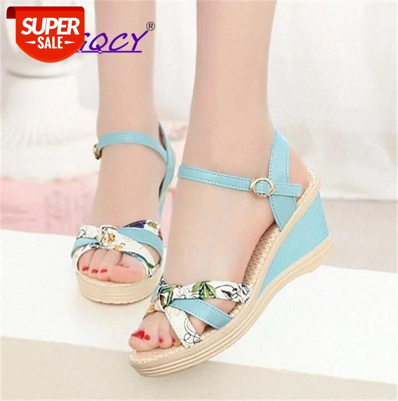 Peep Toe Print Wedge Platform sandals women 2019 summer shoes woman High heel Riband Mixed Colors Buckle Strap female #8f7b