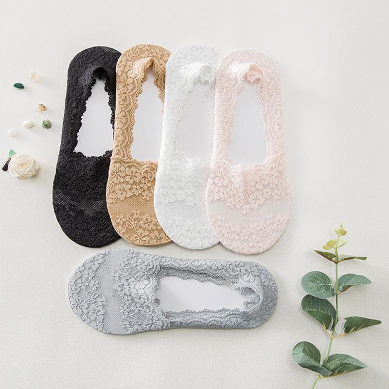 Chaussettes de bateau pour femmes respirantes de dentelle d'été minces et confortables chaussures à talons hauts à talon avec cales