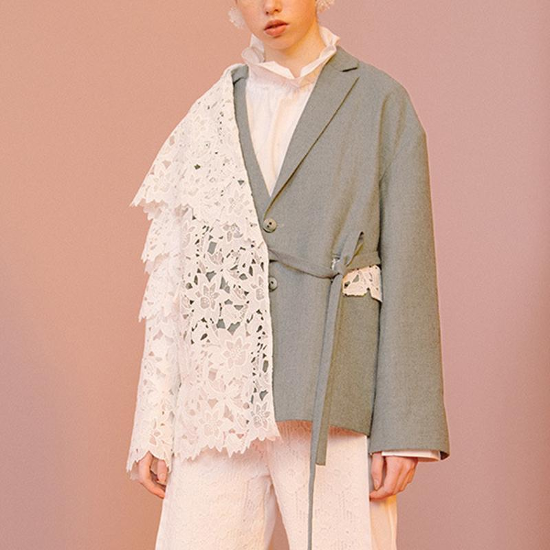 Women Blazer Lace Patchwork Asymmetric High Street Jacket Women's Suits & Blazers