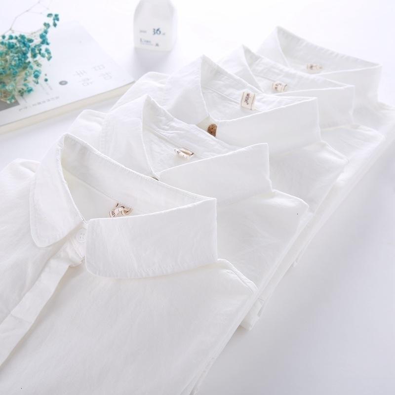 Coton femmes blouses manches longues décontractées filles blanc chemisier chemise simple design dames bureaux de bureau chemise printemps automne 201201