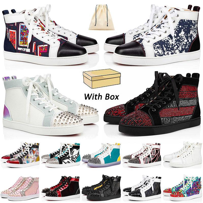 مع صندوق 2021 أحذية رياضية ذات قيعان حمراء أحذية غير رسمية للرجال والنساء مصمم من الجلد السويدي المسامير أحذية بدون كعب موضة أحذية المدربين المسطحة مقاس 13