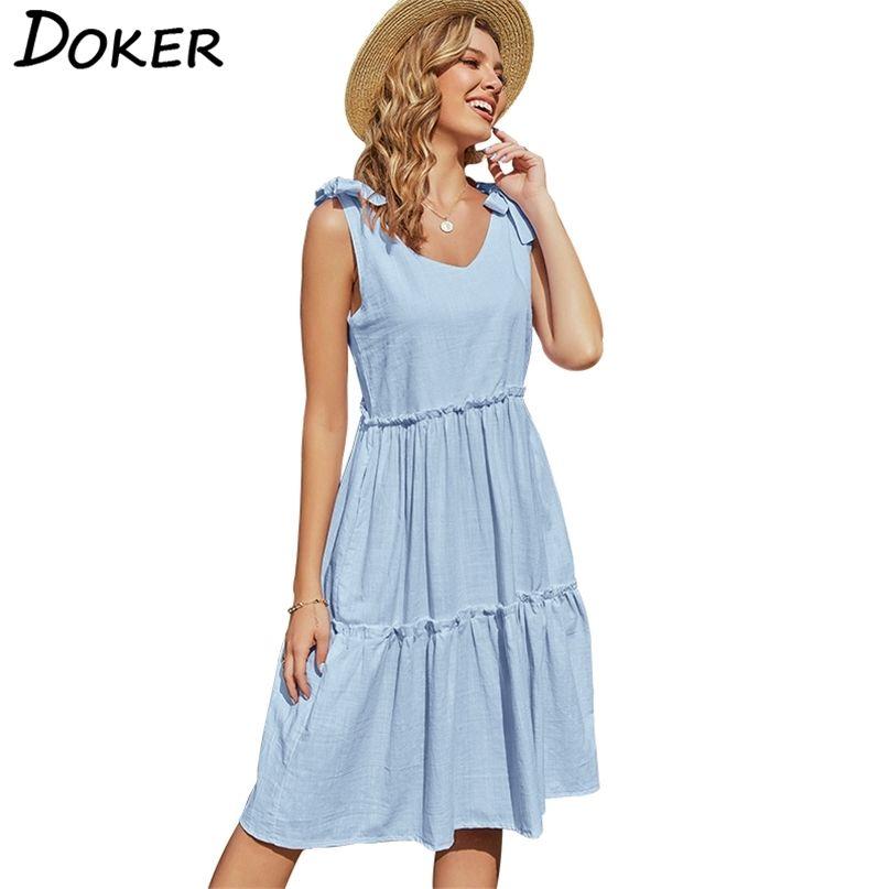 Sommer Massivfarbe V-Ausschnitt Plissee Frauen Kleid Casual Lose Temperament Elegant Party Große Schwing Weibliche Kleider 210603