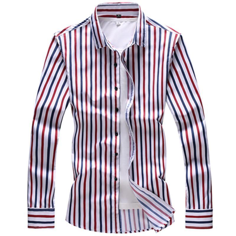 봄 남자의 대비 멀티 스트라이프 캐주얼 긴 소매 셔츠 슬림 피트 컴포트 부드러운 버튼 아래로 디자인 코튼 블라우스