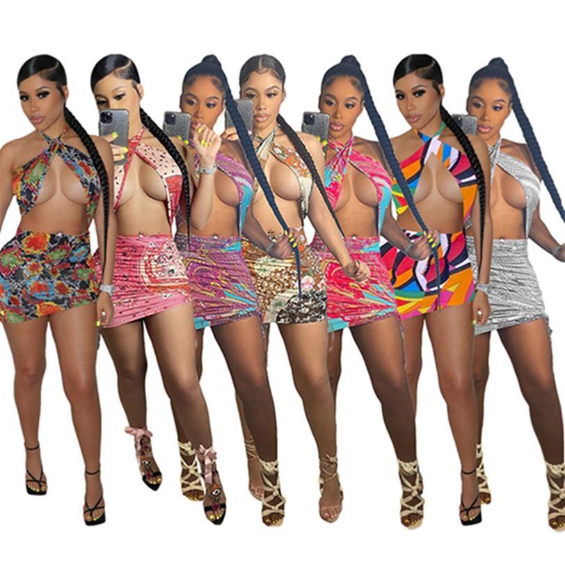 Kadınlar Mini Elbiseler Yaz Giyim Seksi Kulübü Zarif Kolsuz Halter Beachwear Diz Yukarıdaki Uzun Etek Kılıf Sütun Göğüs Şal Backless Tatil Elbise 01266