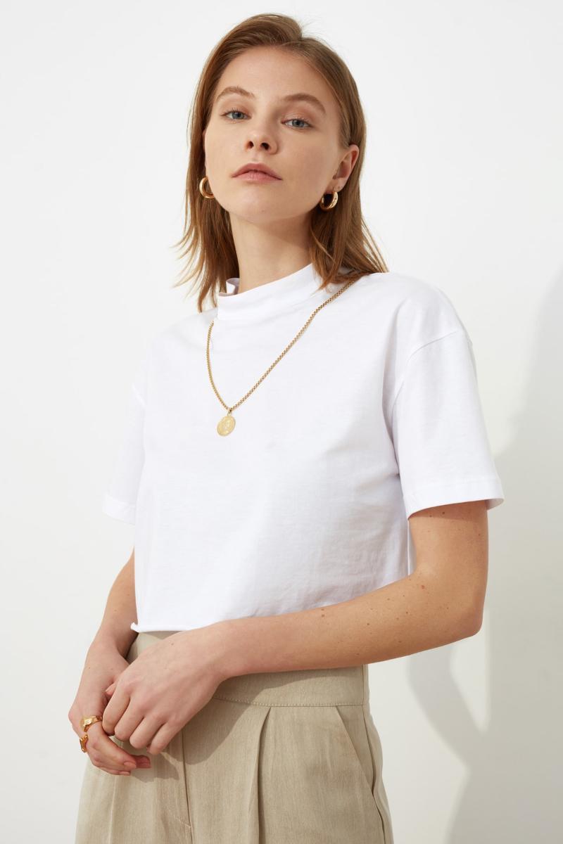 Frauen Weiß Sheer Ausschnitt Crop Gestrickte T-Shirt Modern Cut Casual Special Design Multi-Use Damen