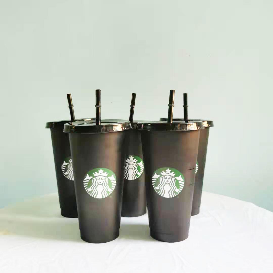 Starbucks Tumblers 24oz / 710ml Tumbler Plastic Tumbler Riutilizzabile Nero Bere Bere Flat Bottom Tazza a forma di pilastro Tazza di paglia