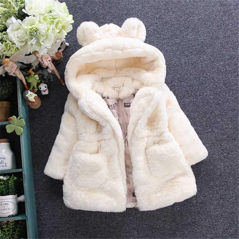 LawaDka 겨울 따뜻한 아기 소녀 옷 가짜 모피 패딩 코트 패션 두꺼운 후드 자켓 어린이 겉옷 Snowsuit 2-7t Q0827