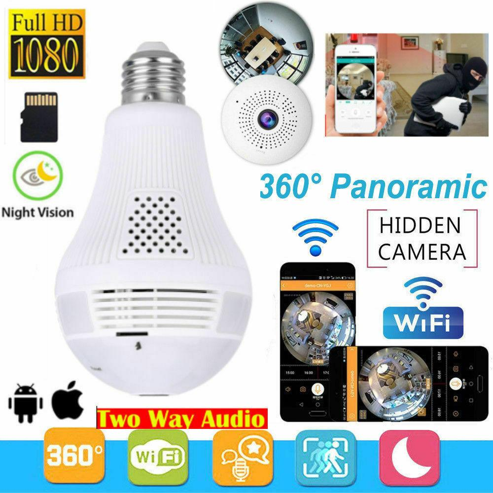 1080P HD WiFi Cámara IP 360 ° VR Panorámica CCTV Video Video Video Video Luz de cámara web Smart Indoor y al aire libre Seguridad de la casa de la lámpara de ojo de pez Free Drop Ship