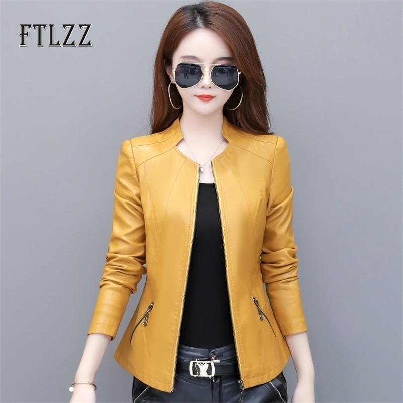 Frühling Herbst Leahter Jacke Frauen Langarm Slim Zipper Biker Mantel Damen Vintage Plus Größe PU Oberbekleidung Blazer 210602