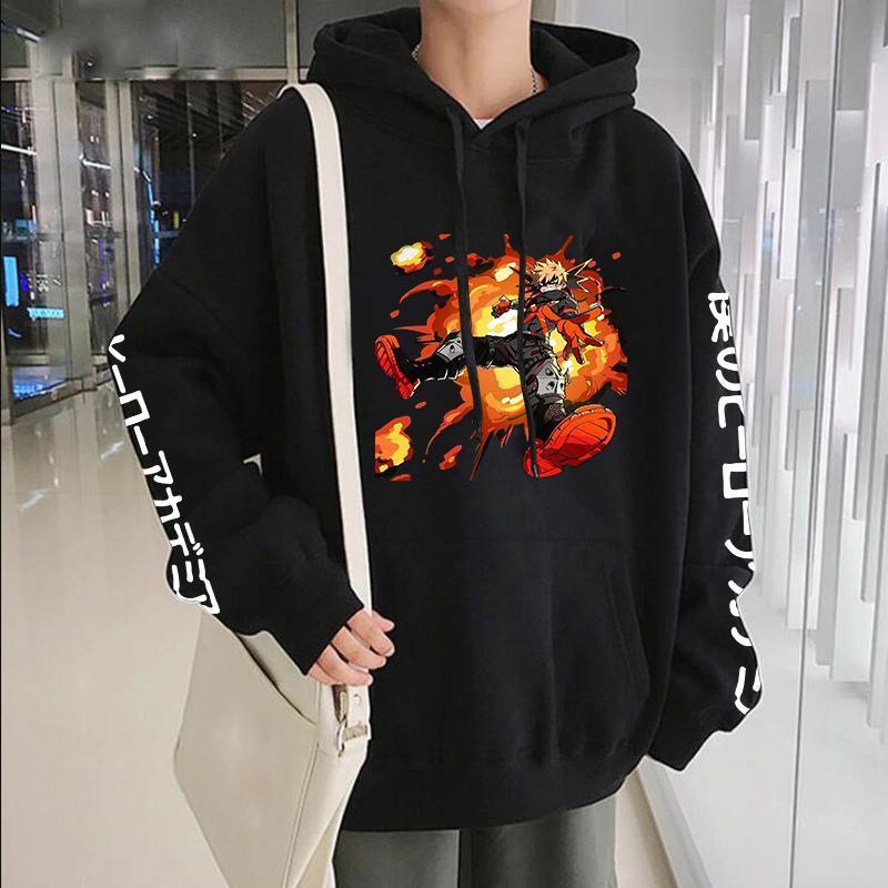 Sudaderas con capucha para hombre Sudaderas Bakugou My Hero Academia Anime Men Streetwear Dibujos animados GRÁFICO Gráfico Harajuku Grandeado de invierno