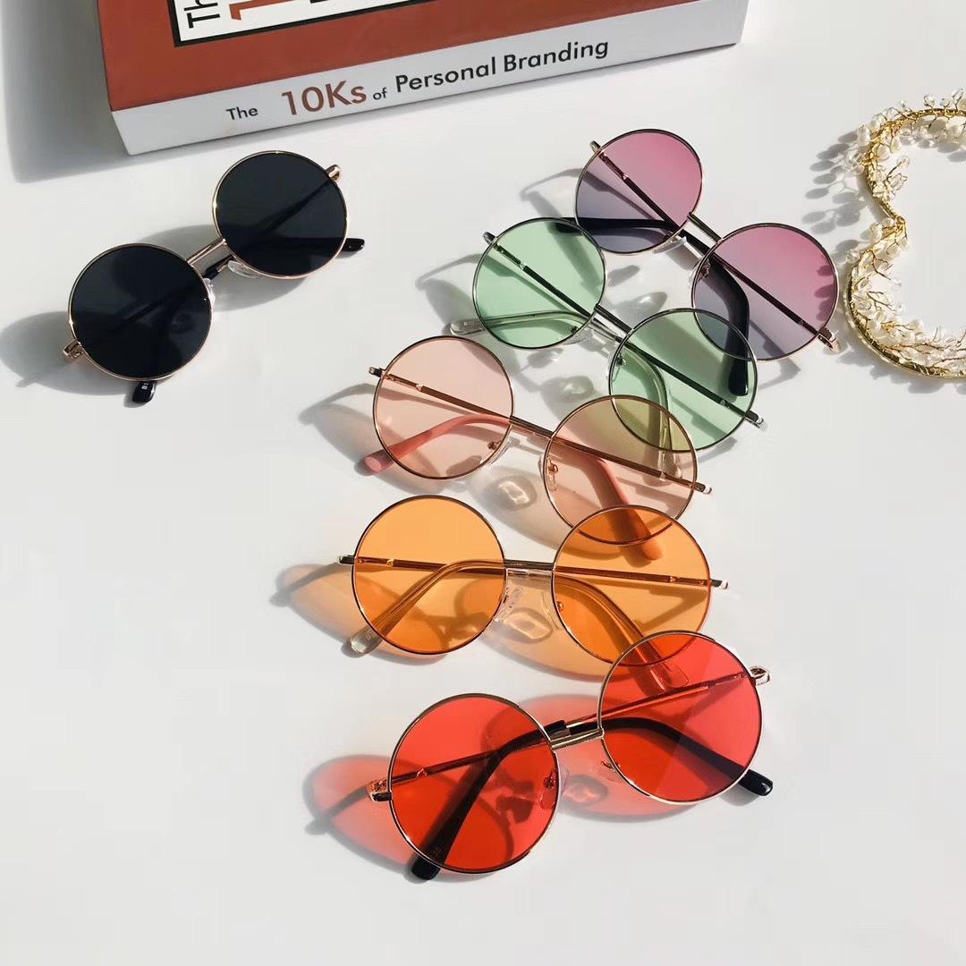 Kinder Metallrahmen Sun Retro Rundenwicklung, Sonnenbrille, Brille, Brille Wild Britisch Stil Gläser Töne für Jungen Mädchen Baby und Kinder Alter 5-10