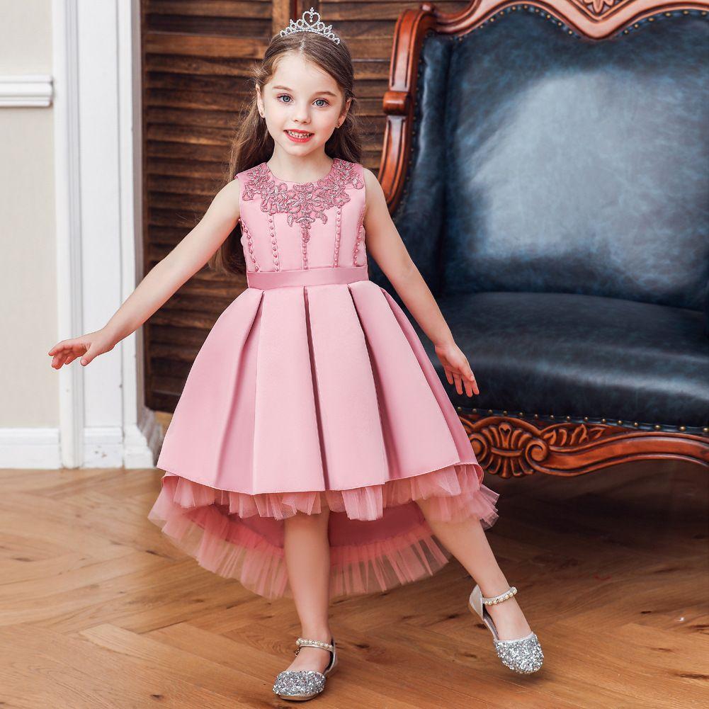 lovely children ball gown flower girl dress wedding party sleeveless anomalistic princess dress